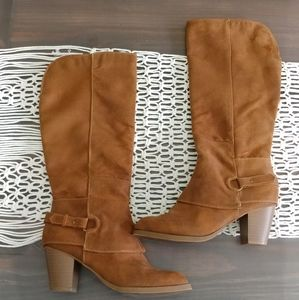 Mossimo knee high tan suede boots